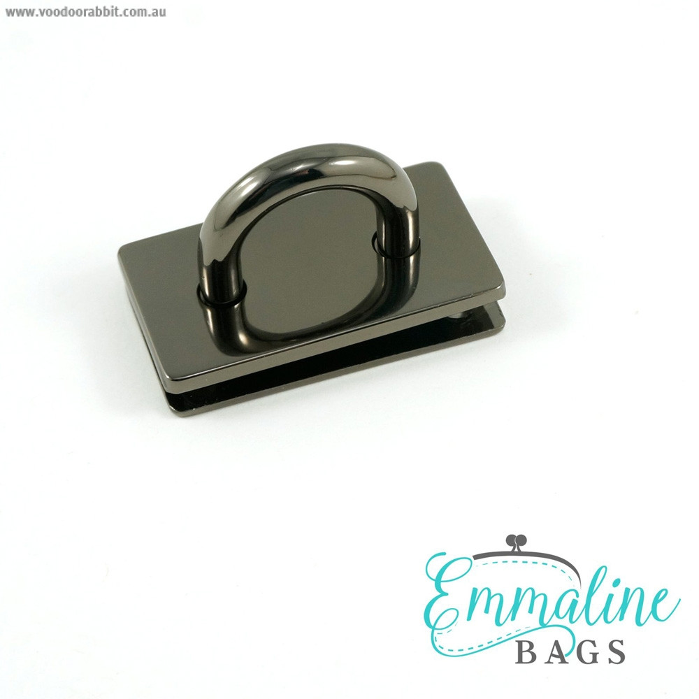 "Emmaline Bags Bridge Strap Connector 35mm (1-3/8"") wide Gunmetal"