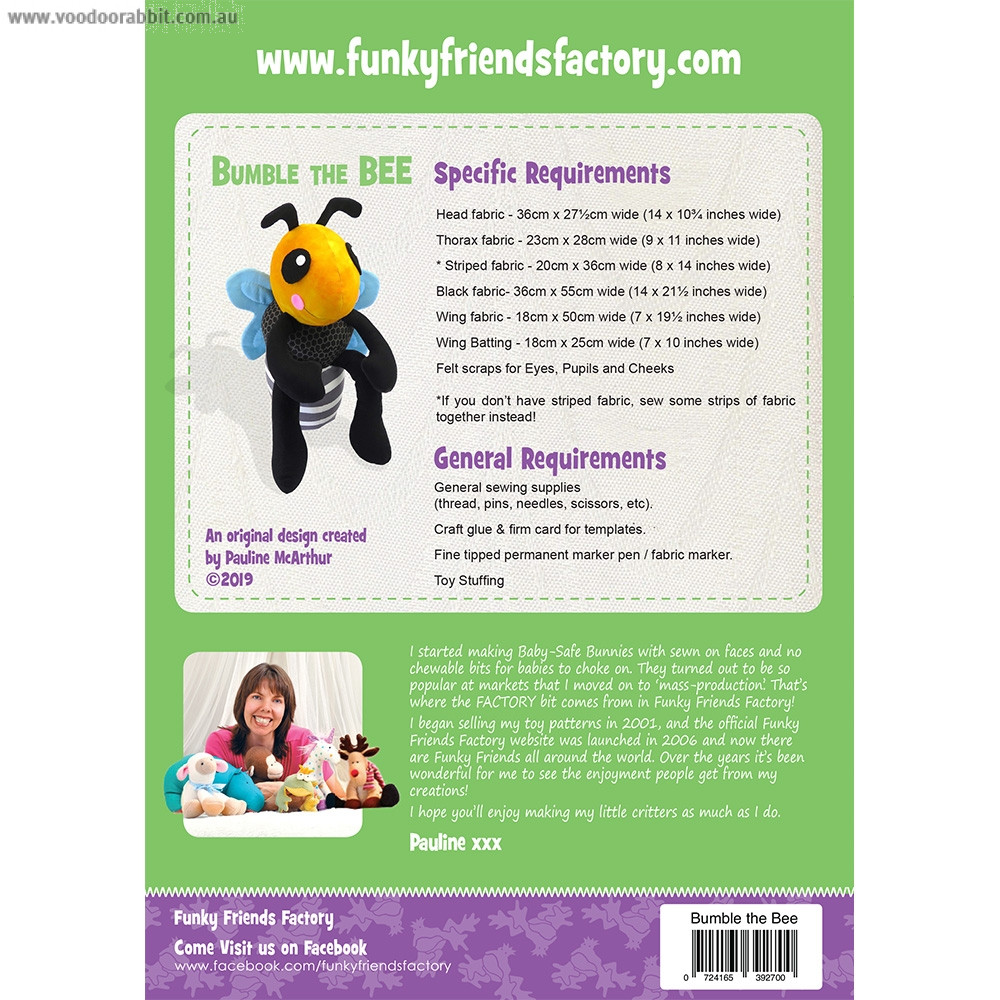 Bumble the Bee Soft Toy Sewing Pattern by Funky Friends Factory