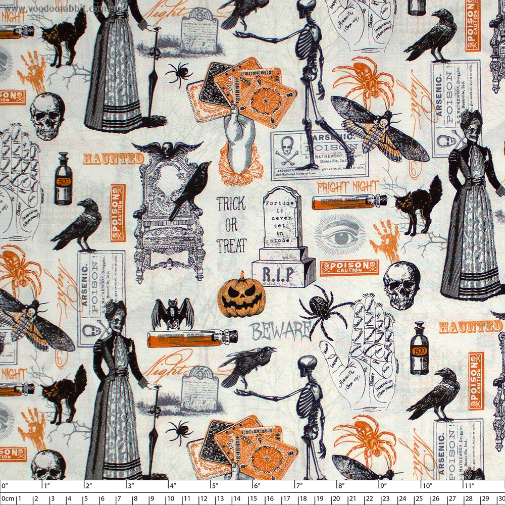 Bad Blood Spooky Collage Cream by Timeless Treasures