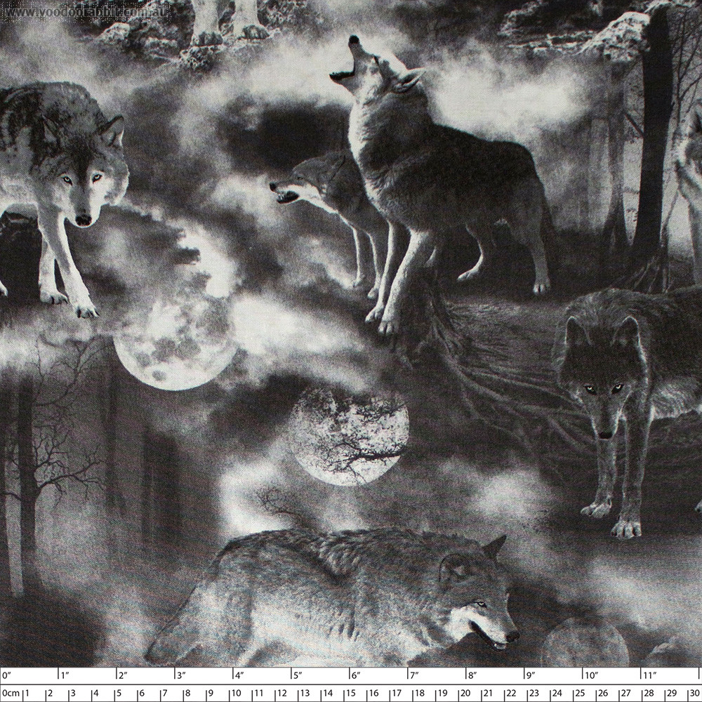 Wicked Fog Wolves Black by Timeless Treasures