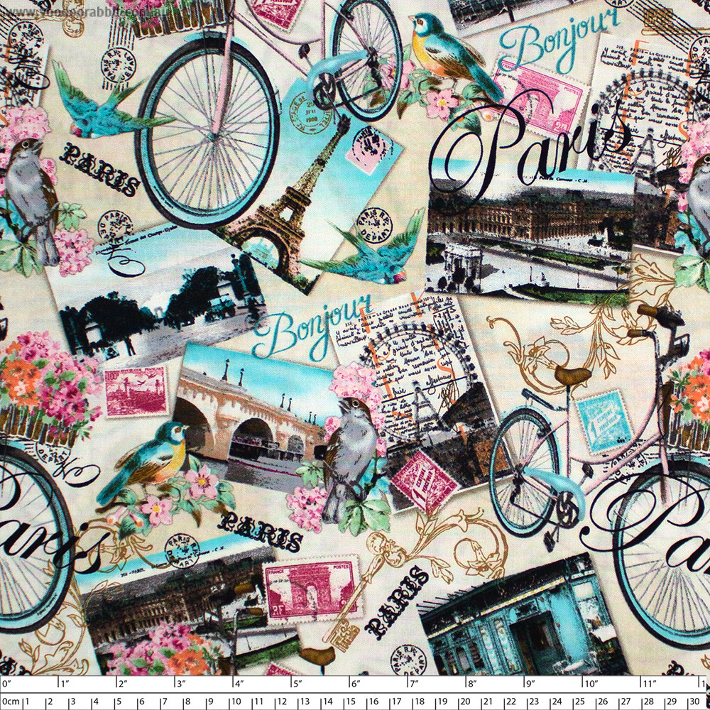 Paris Collage Multi by Timeless Treasures