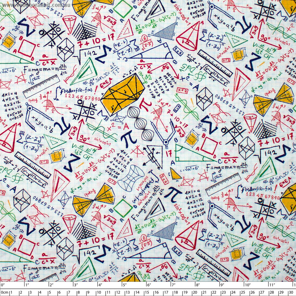 Colourful Math Doodles On Grid White by Timeless Treasures