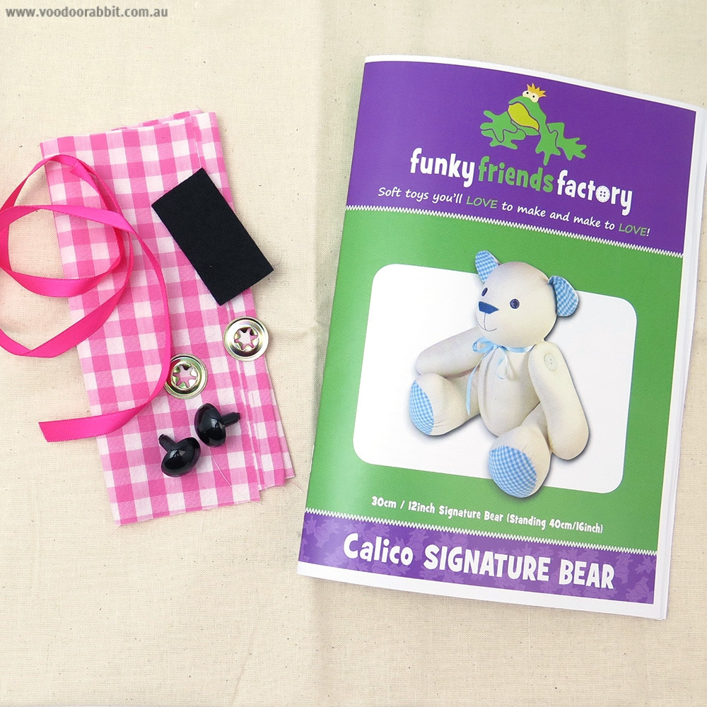 Funky Friends Factory Calico Signature Bear Pink Soft Toy Making Kit