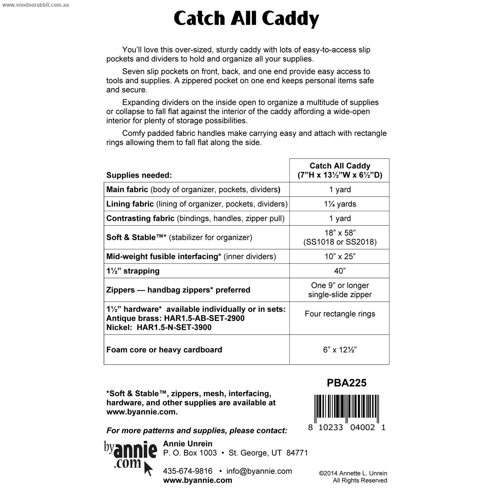 Catch All Caddy Sewing Pattern byAnnie