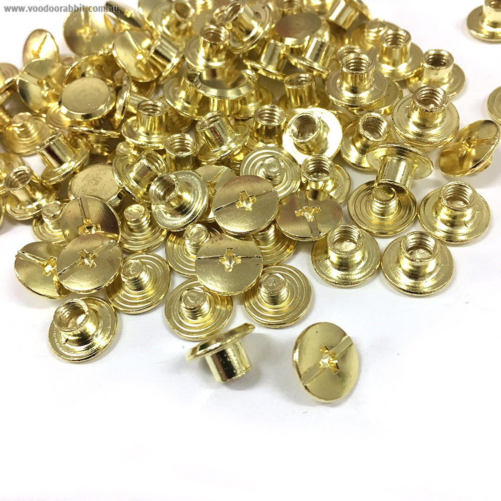 """Emmaline Bags Chicago Screws Small 10mm x 4mm (3/8"""" x 3/16"""") in Gold - 50pk"""