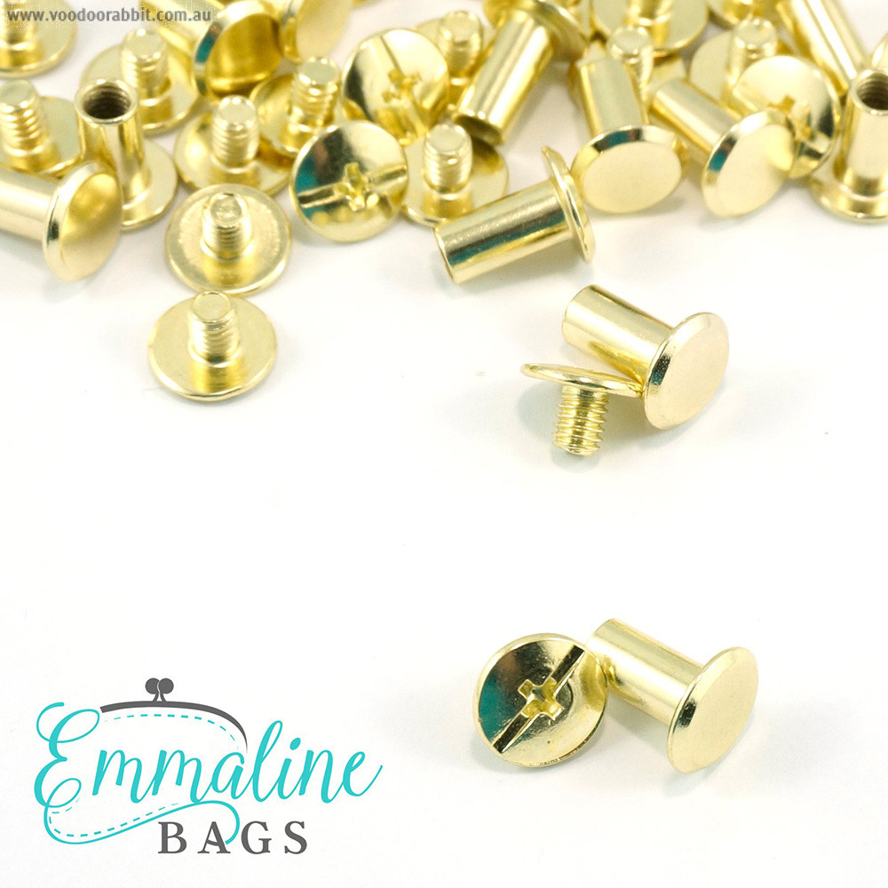 """Emmaline Bags Chicago Screws Large 10mm x 10mm (3/8"""" x 3/8"""") in Gold - 50pk"""