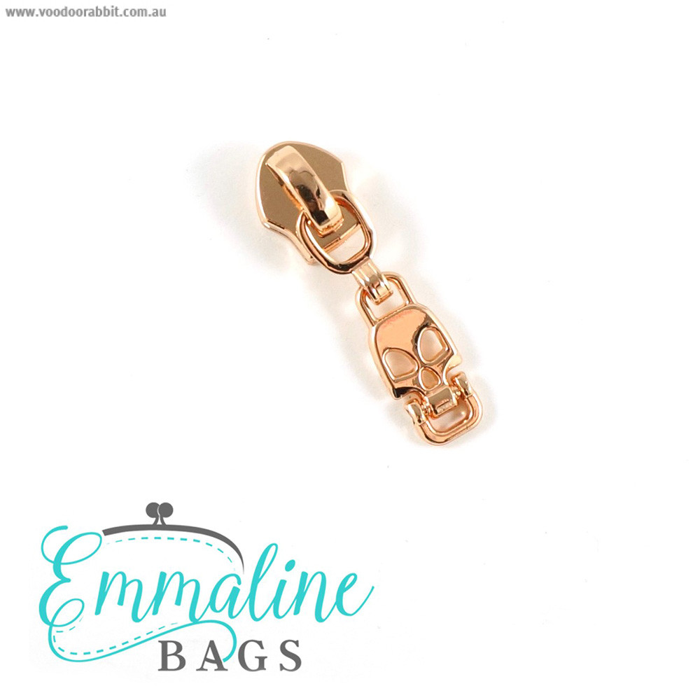 Emmaline Bags #5 Zipper Sliders with Skull Drop Pull (10 pk) Copper