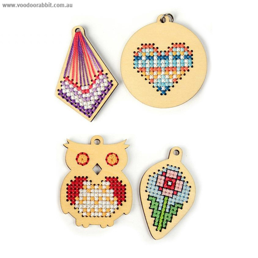 Cross Stitch Style Wood Charm Diamond Heart Leaf Owl 4pk Voodoo