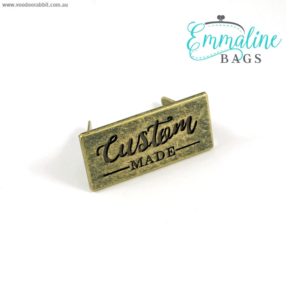 Emmaline Bags Metal Bag Label - Custom Made Antique Brass