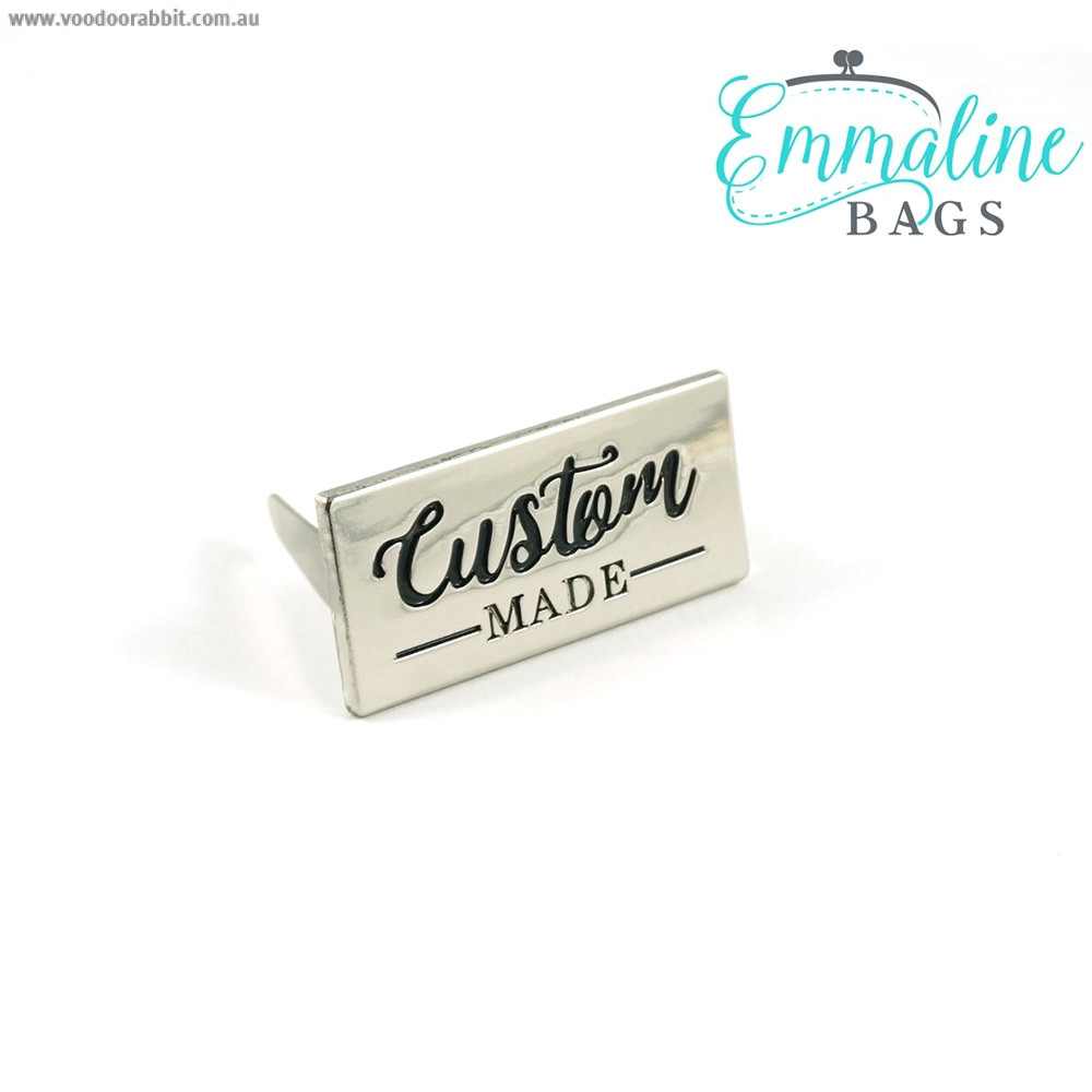 Emmaline Bags Metal Bag Label - Custom Made Silver