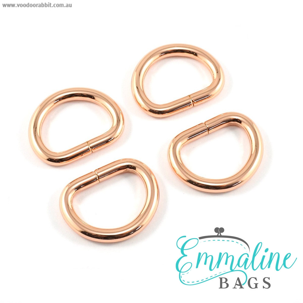"Emmaline Bags D-Ring 20mm (3/4"") Copper (Rose Gold) - 4pk"
