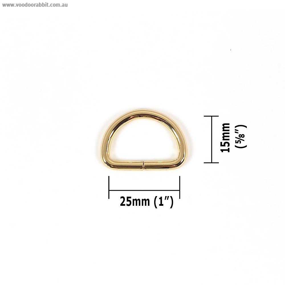 "Voodoo Bag Hardware D-Ring 25mm (1"") Gold - 4 pk"