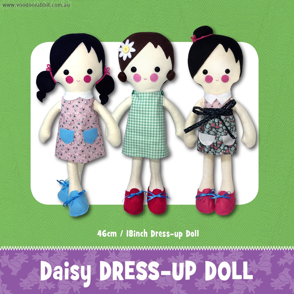 Daisy Dress Up Doll Soft Toy Sewing Pattern by Funky Friends Factory