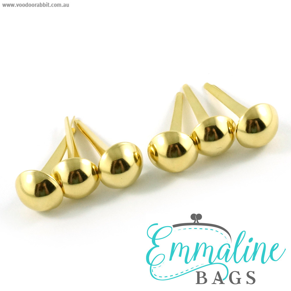 "Emmaline Bags Small Domed Purse Feet 12mm (1/2"") Gold - 6pk"