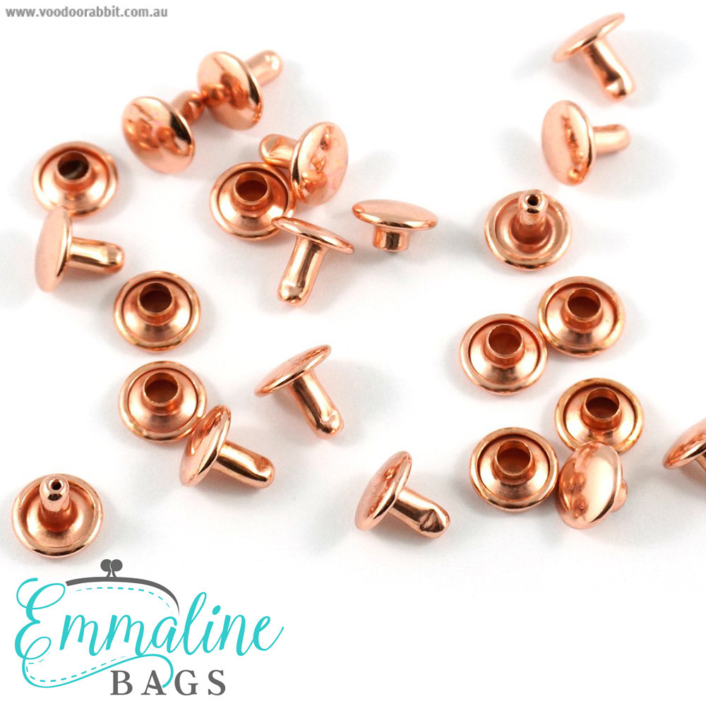 Emmaline Bags Metal Double-Capped Rivets Copper (Rose Gold) 8mm x 6mm - 50 sets