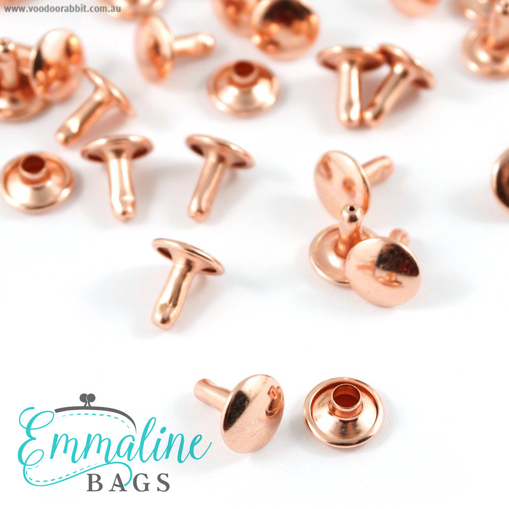 Emmaline Bags Metal Double-Capped Rivets Copper (Rose Gold) 9mm x 8mm - 50 sets