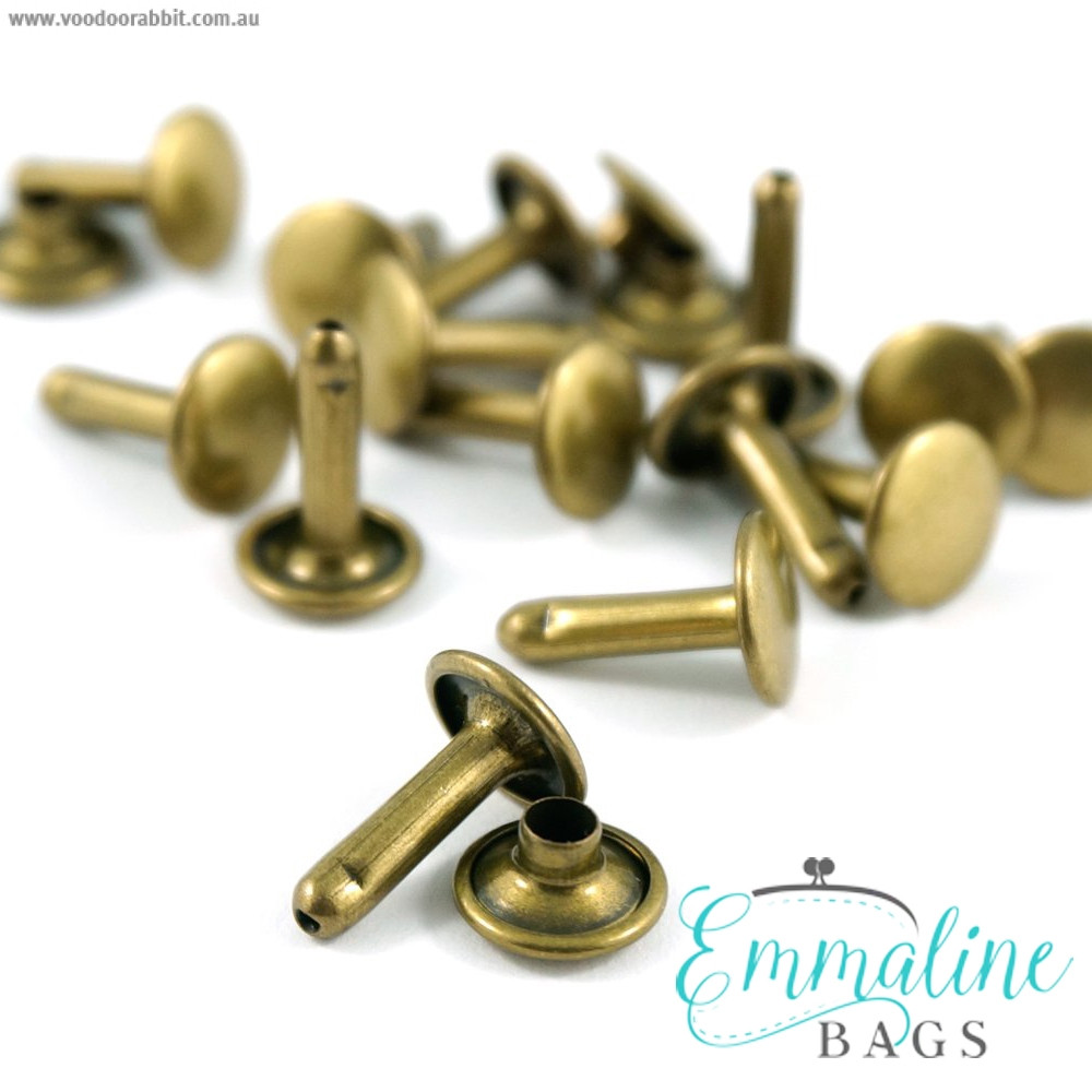 Emmaline Bags Metal Double-Capped Rivets Antique Brass Extra Large Size 9mm x 12mm - 50pk