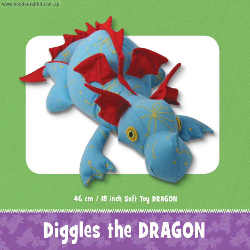 Diggles the Dragon Soft Toy Pattern by Funky Friends Factory