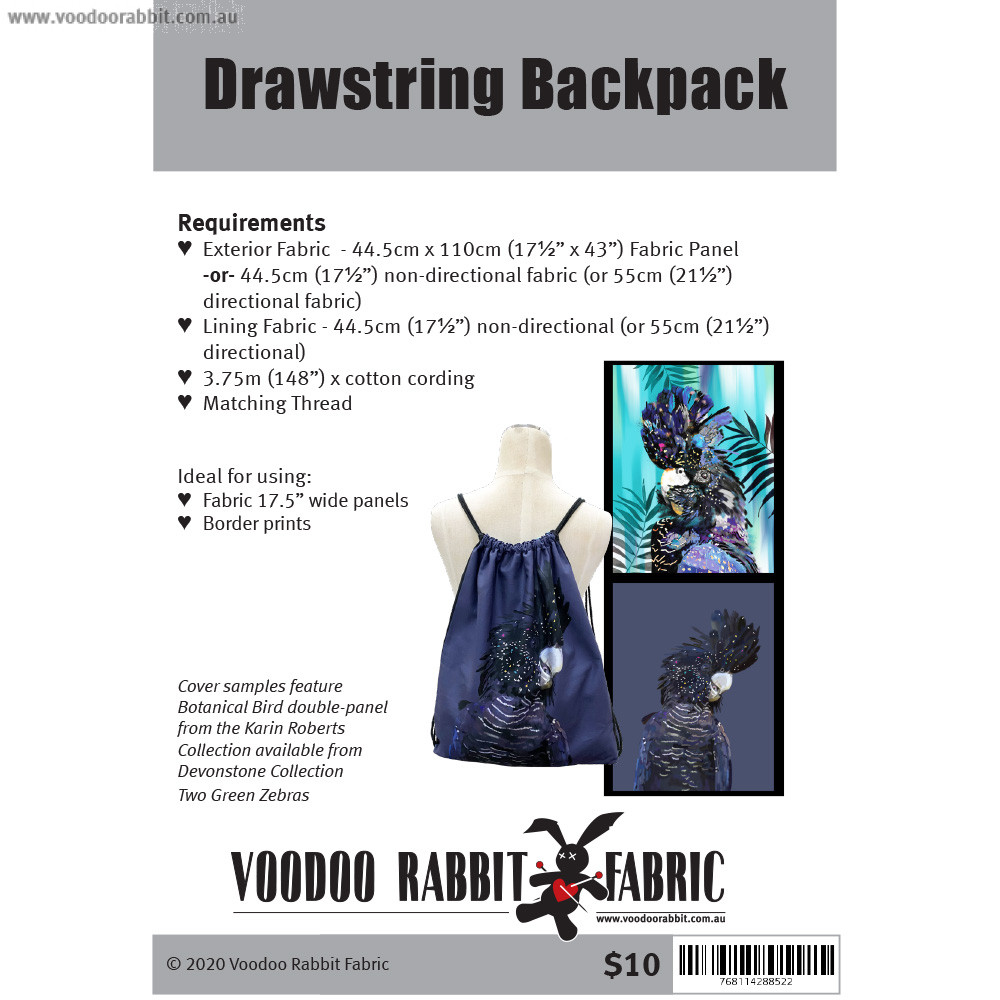 Drawstring Backpack Sewing Pattern by Voodoo Rabbit Fabric