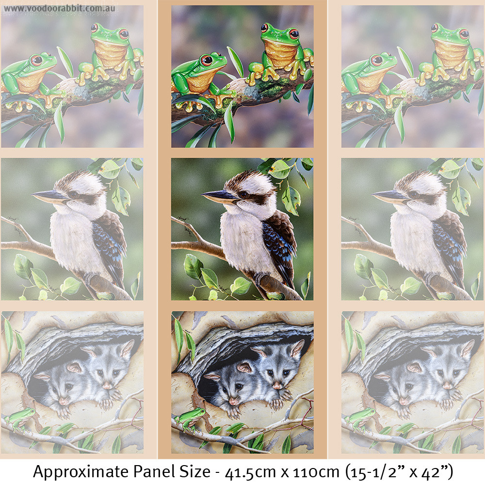 """Wildlife Art 41.5cm (16-3/4"""") Tri-Panel Frogs, Kookaburra and Possums by Devonstone Collection"""