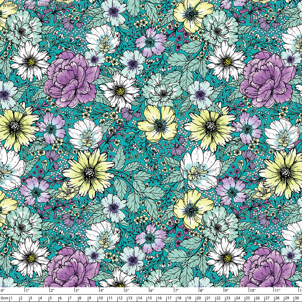 """Large Floral Dark Turquoise 145cm (57"""" wide) Cotton Lawn Fabric by Devonstone"""