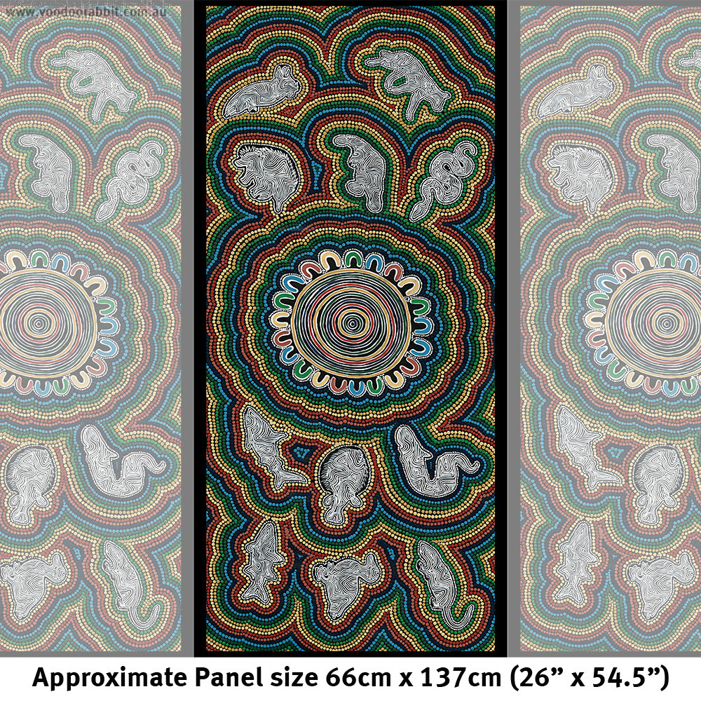 """Ngurambang Collection Dhuray (Connection) Cotton/Linen 26"""" x 54.5"""" Fabric Panel by Devonstone Collection"""