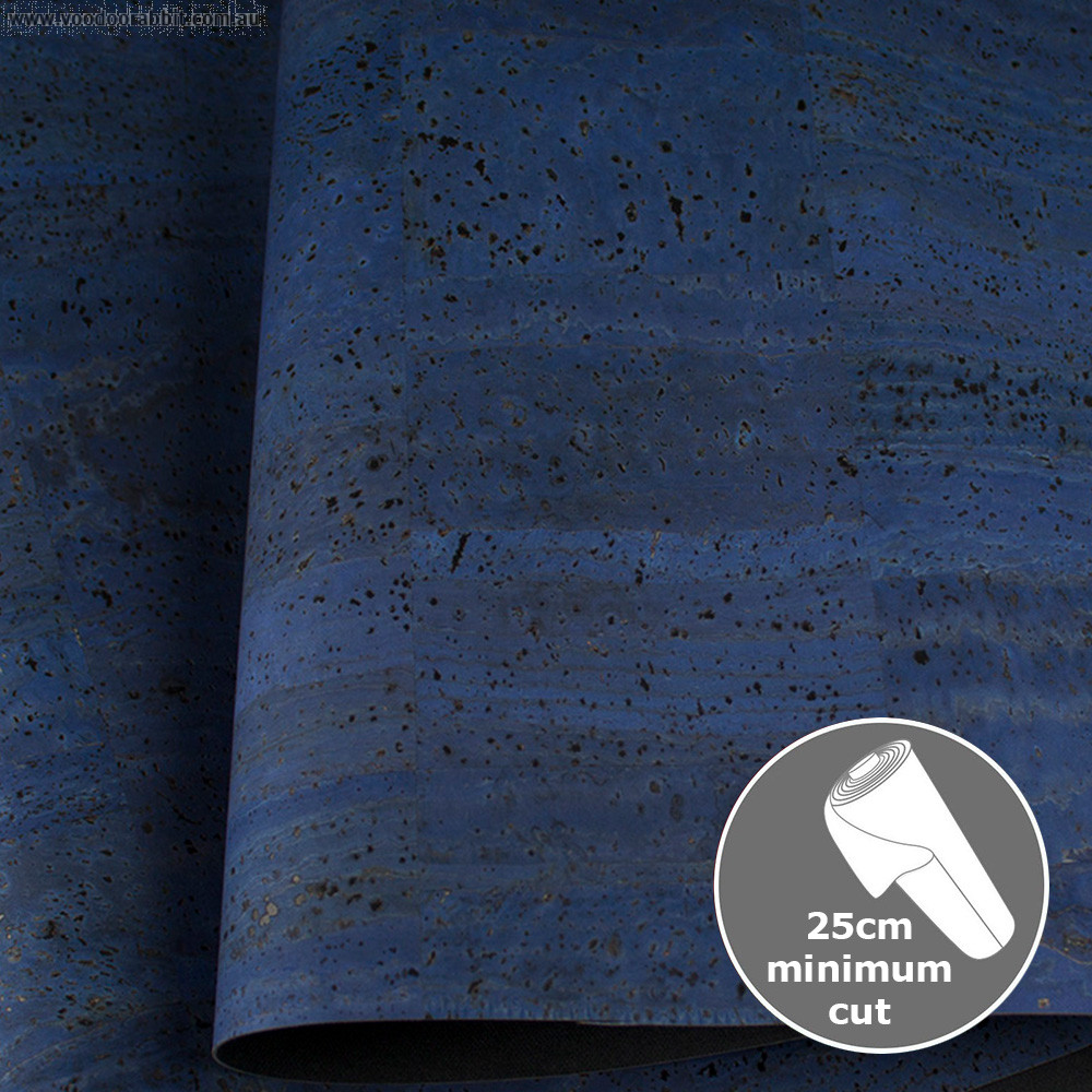 "Portuguese Cork Fabric 70cm (27.5"") wide Surface Denim Blue"
