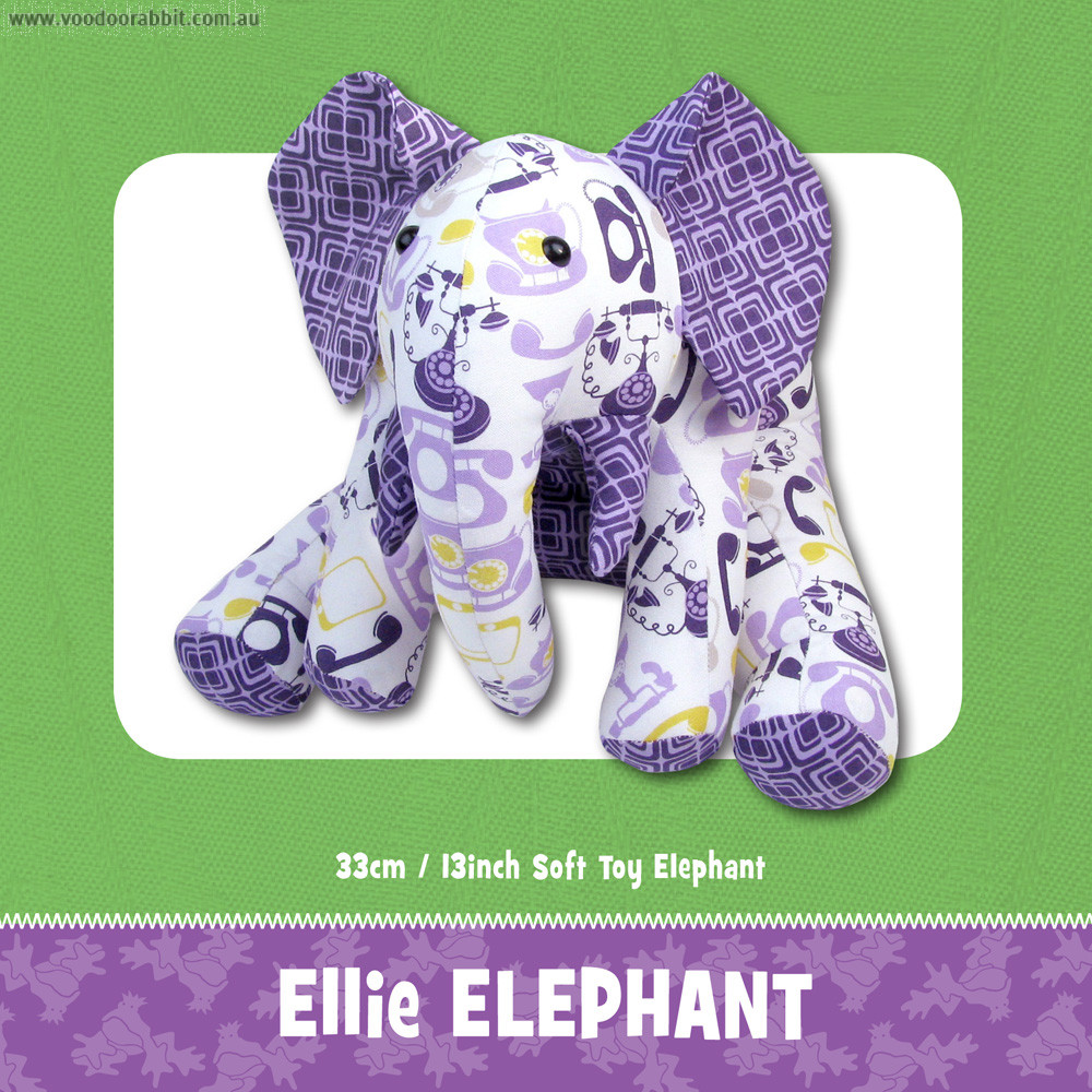 Ellie elephant soft toy sewing pattern alternative cool funky ellie elephant soft toy pattern by funky friends factory jeuxipadfo Images