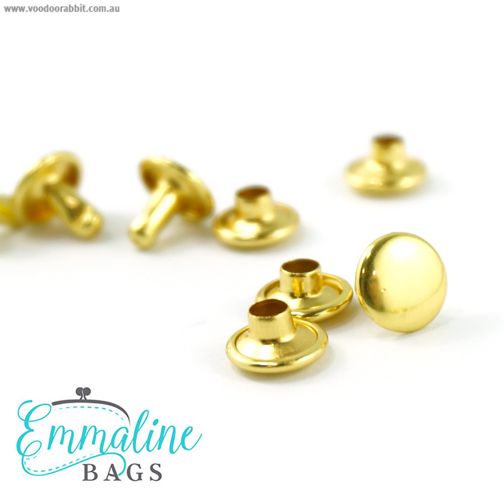 Emmaline Bags Metal Double-Capped Rivets Gold Small Size 8mm x 6mm - 50 sets