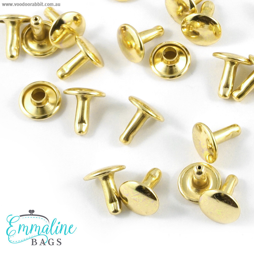 Emmaline Bags Metal Double-Capped Rivets Gold 9mm x 8mm - 50 sets