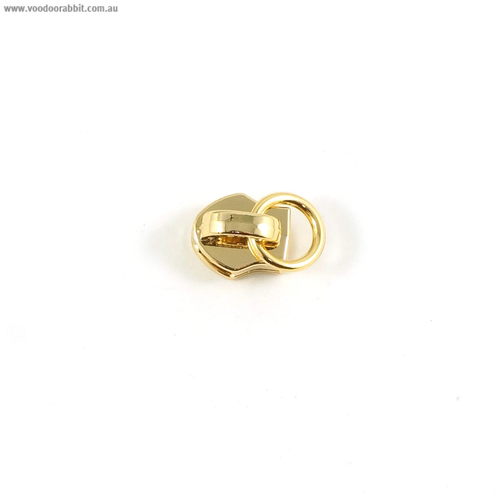 Emmaline Bags #3 Zipper Sliders with Attachment Ring (10pk) Gold