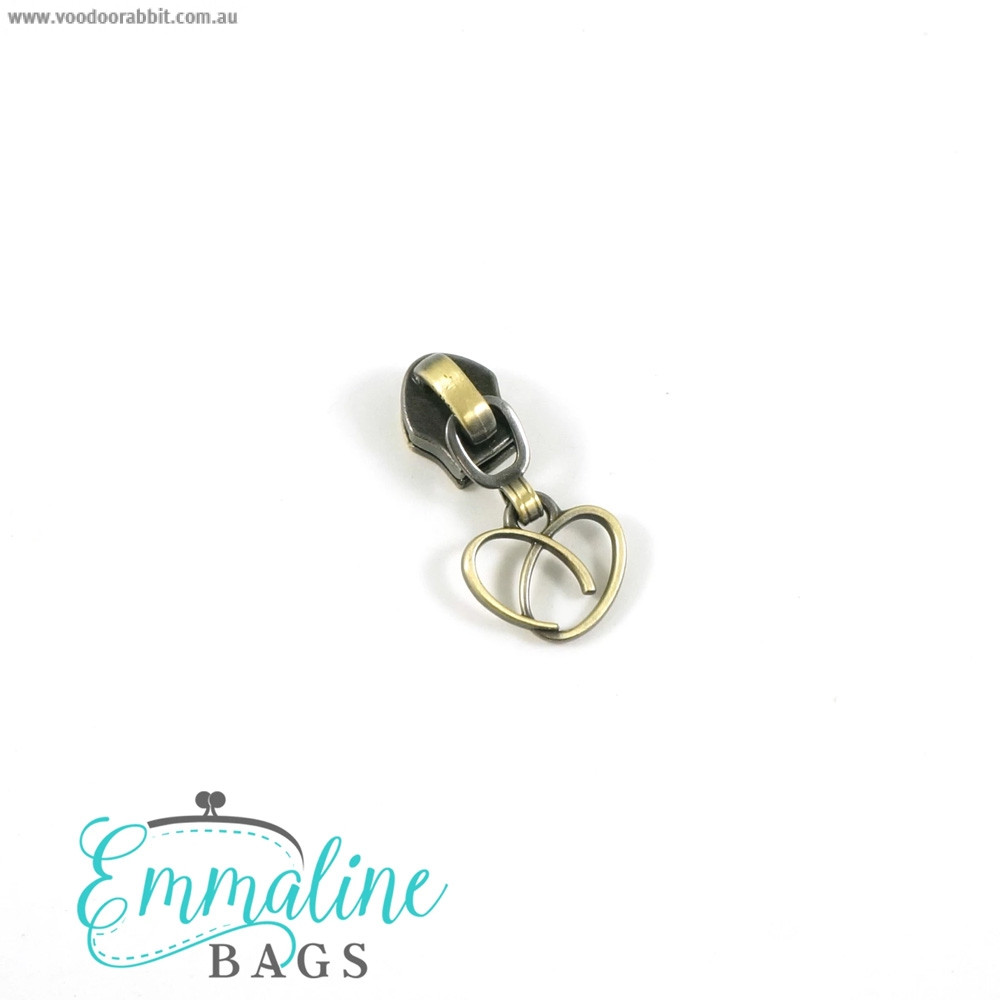 Emmaline Bags #5 Zipper Sliders with Heart Pull (10 pack) Antique Brass