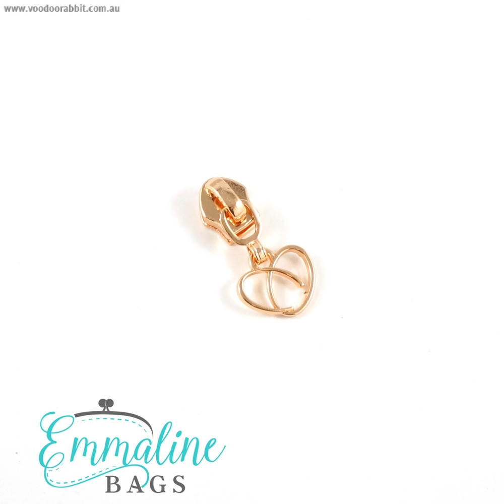 Emmaline Bags #5 Zipper Sliders with Heart Pull (10 pack) Copper