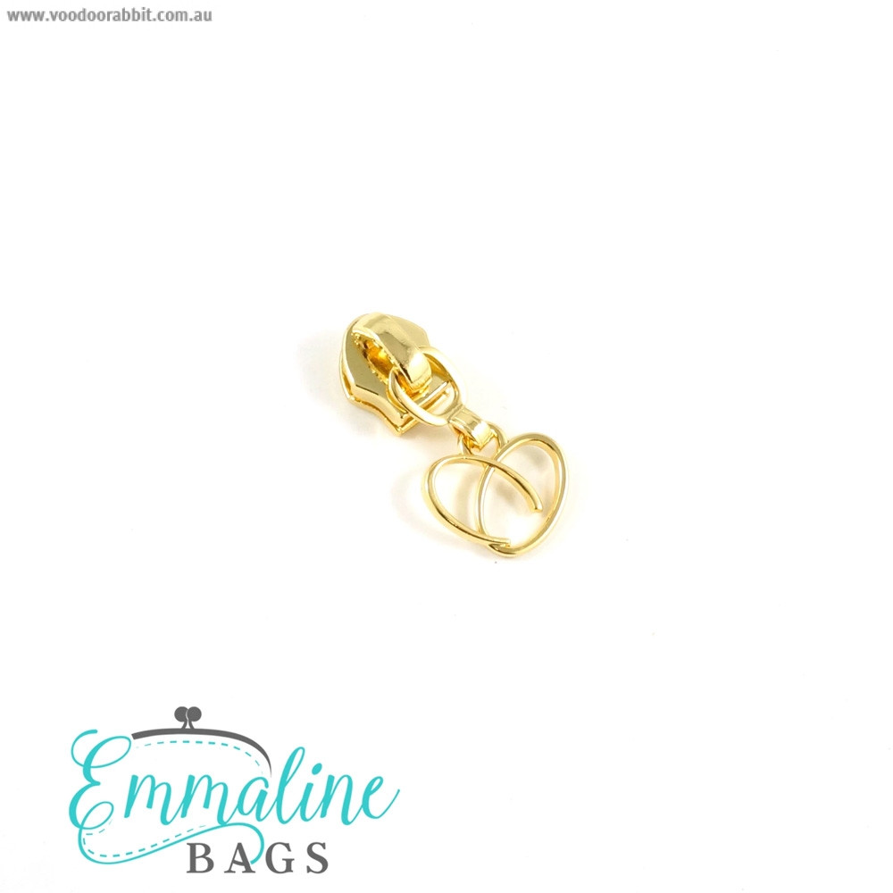 Emmaline Bags #5 Zipper Sliders with Heart Pull (10 pack) Gold