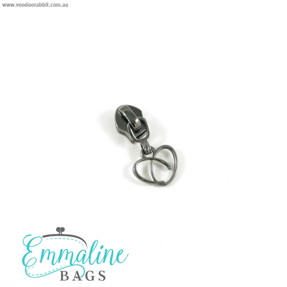 Emmaline Bags #5 Zipper Sliders with Heart Pull (10 pack) Gunmetal