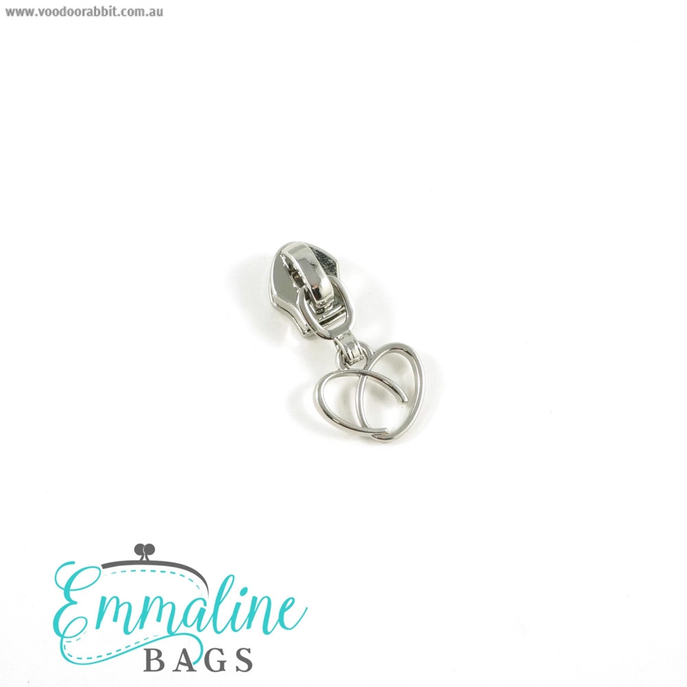Emmaline Bags #5 Zipper Sliders with Heart Pull (10 pack) Silver