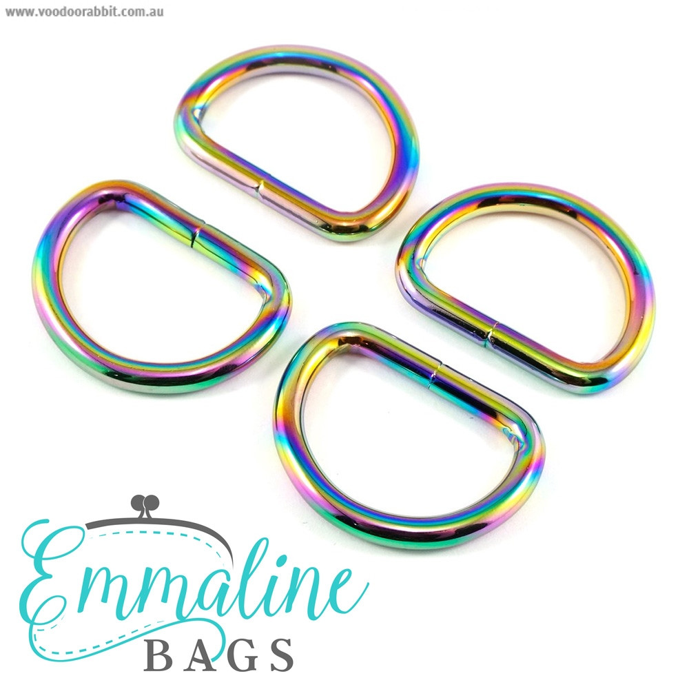 "Emmaline Bags D-Ring 25mm (1"") Iridescent Rainbow - 4pk"