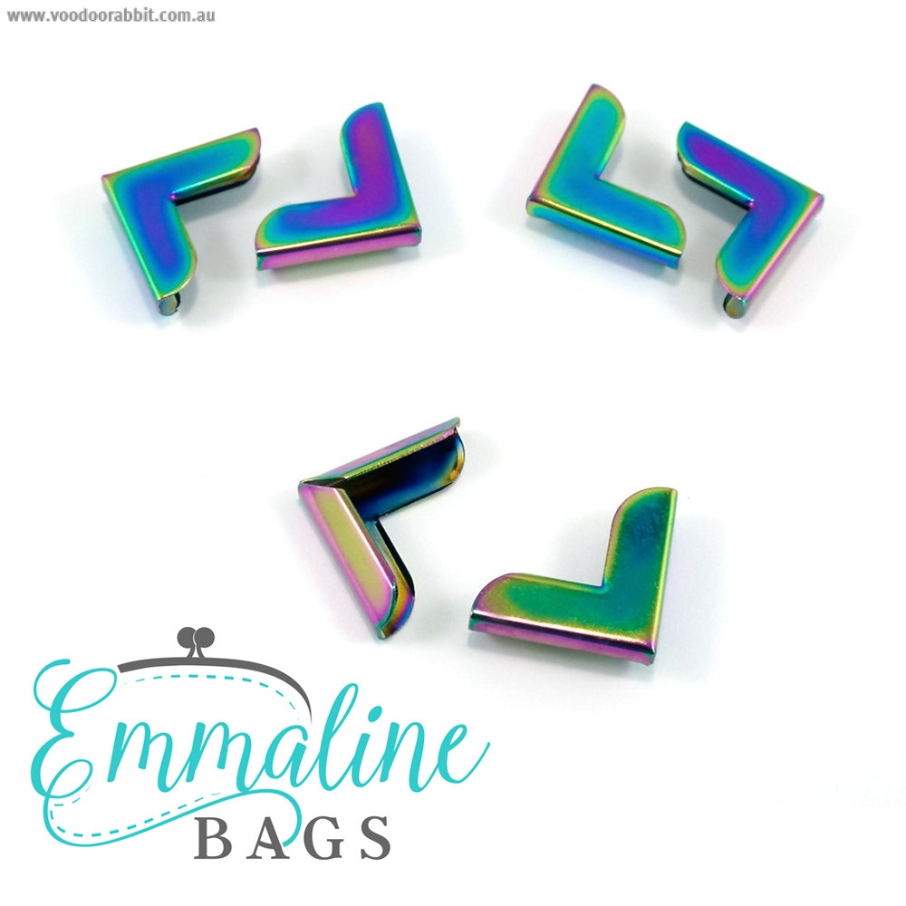 "Emmaline Bags Metal Corners 20mm (3/4"") for Purses Iridescent Rainbow (10 Pack)"