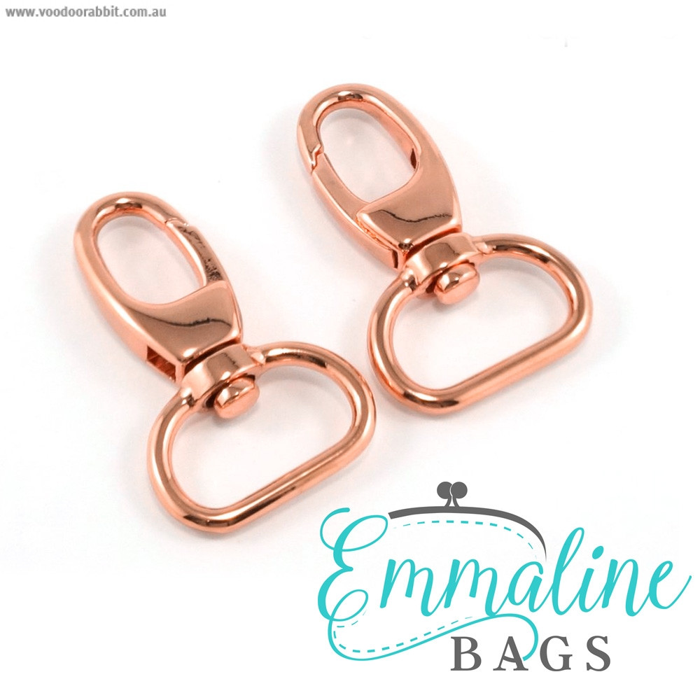 "Emmaline Bags Swivel Snap Hook 20mm (3/4"") Copper (Rose Gold) - 2pk"
