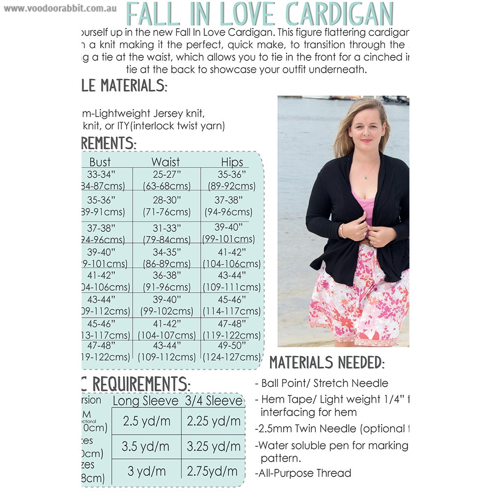 Fall In Love Cardigan Sewing Pattern by Sew To Grow