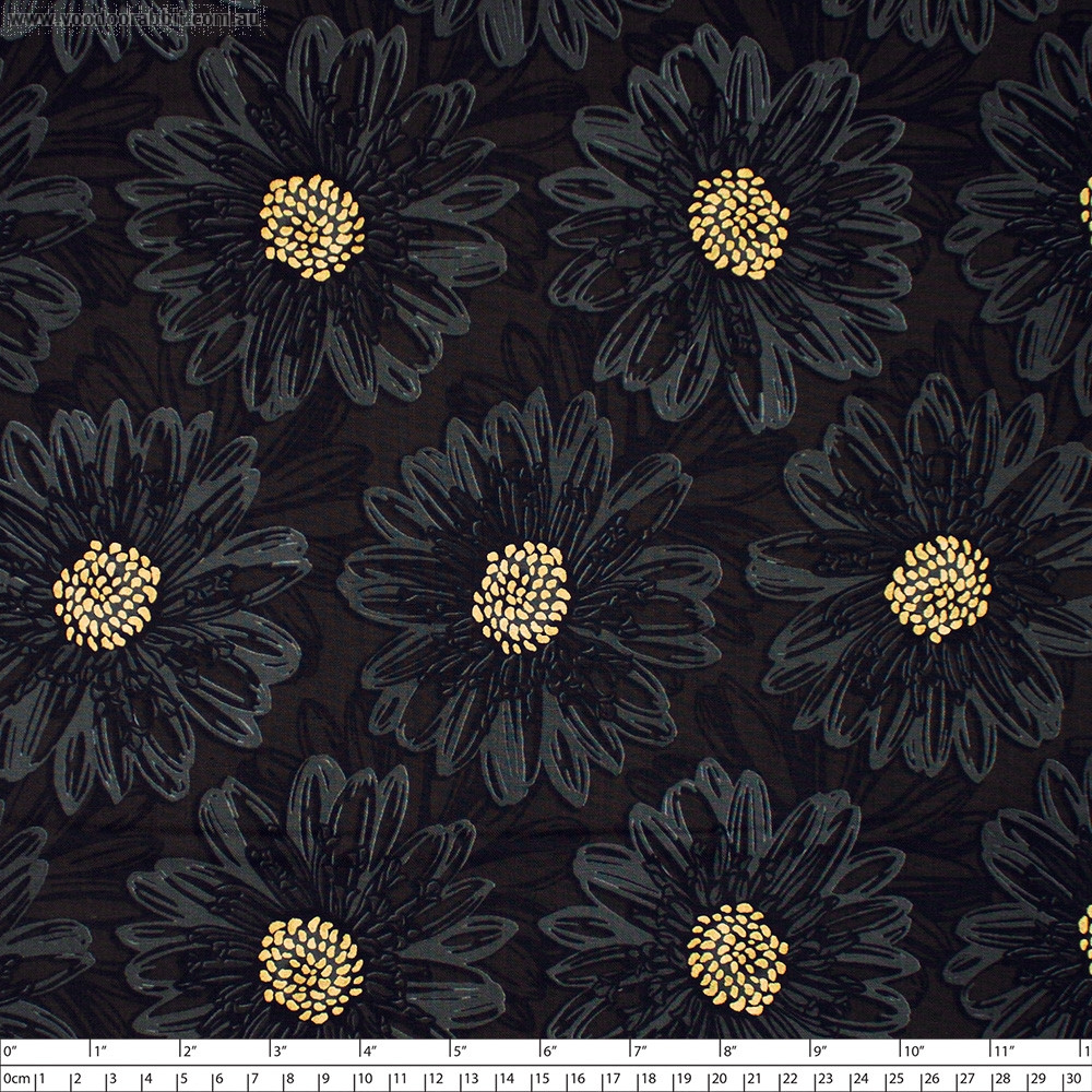 Shiny Objects Good As Gold Embossed Blooms Onyx by RJR Fabrics