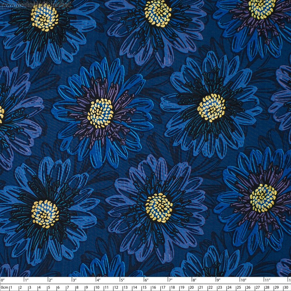 Shiny Objects Good As Gold Embossed Blooms Sapphire by RJR Fabrics