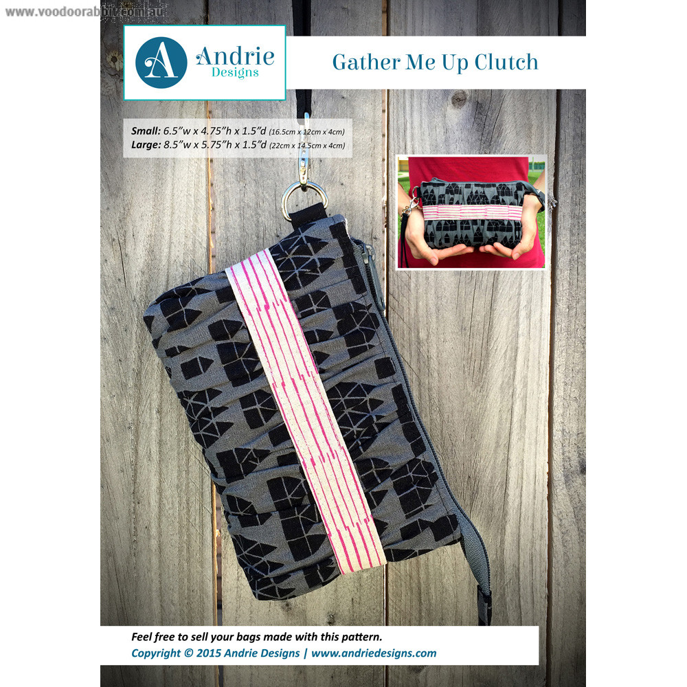 Gather me up clutch sewing pattern by andrie designs formally two gather me up clutch sewing pattern by andrie designs formally two pretty poppets alternative cool funky online fabric shop bag hardware sewing patterns jeuxipadfo Gallery