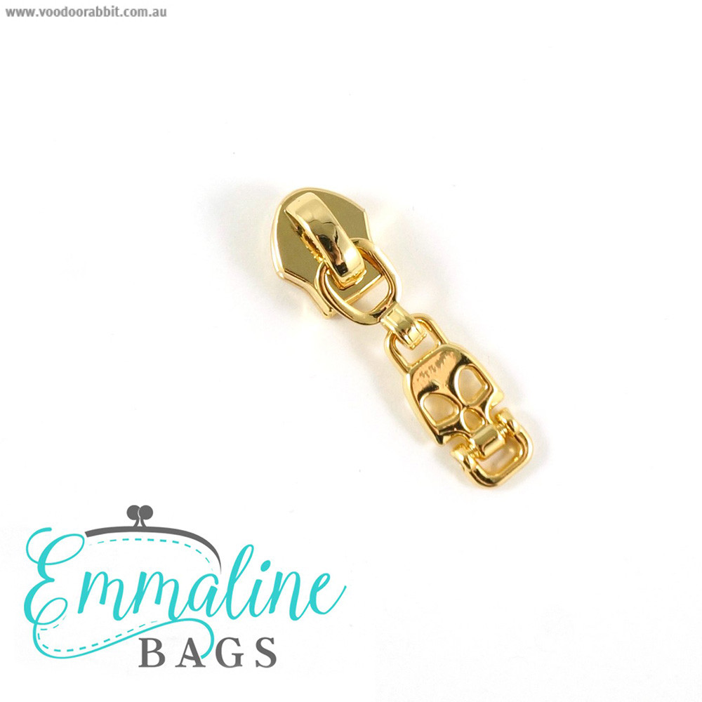 Emmaline Bags #5 Zipper Sliders with Skull Drop Pull (10 pk) Gold