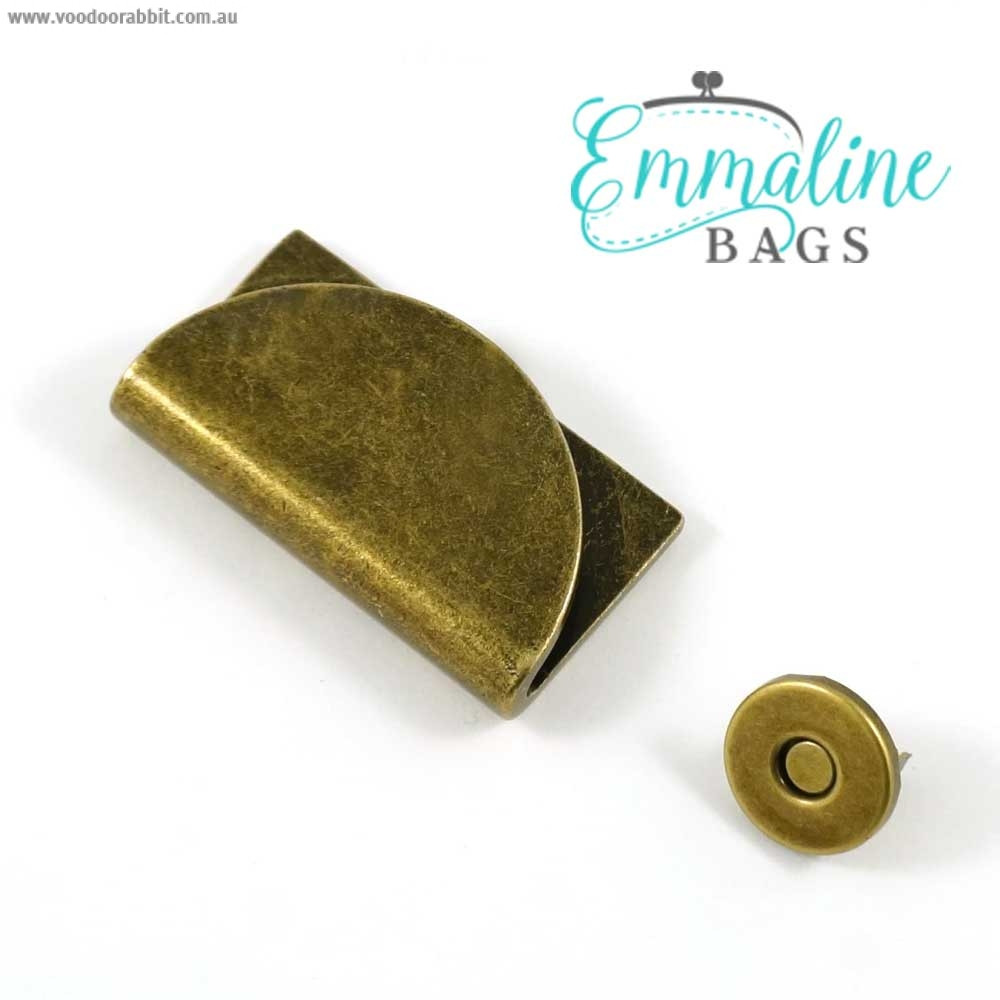 Emmaline Bags Half Moon Magnetic Clasp Antique Brass