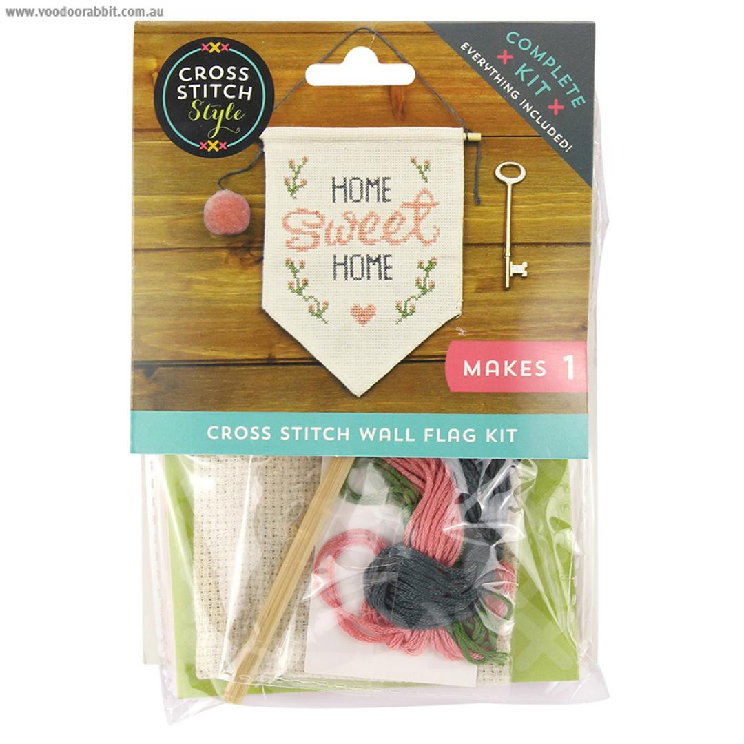 Cross Stitch Style Wall Flag Home Sweet Home Kit