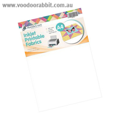 image relating to Ink Jet Printable Fabric identified as Matildas Personal Inkjet Printable A4 Cloth - 5pk Voodoo
