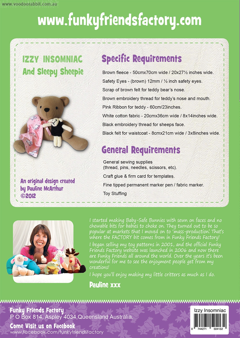 Izzy Insomniac Teddy Bear Soft Toy Sewing Pattern by Funky Friends Factory