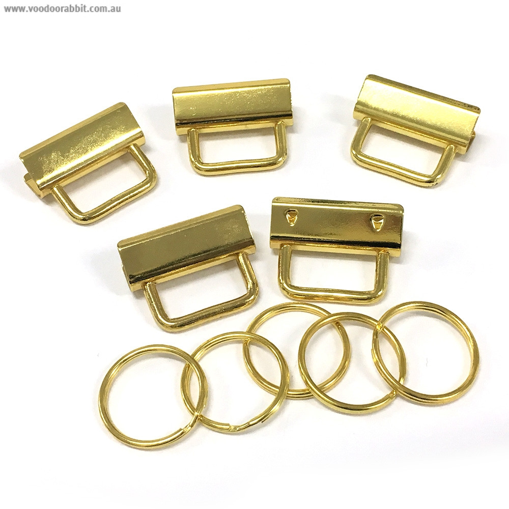 "Voodoo Bag Hardware Key Fob Hardware 31mm (1-1/4"") Gold - 5pk"
