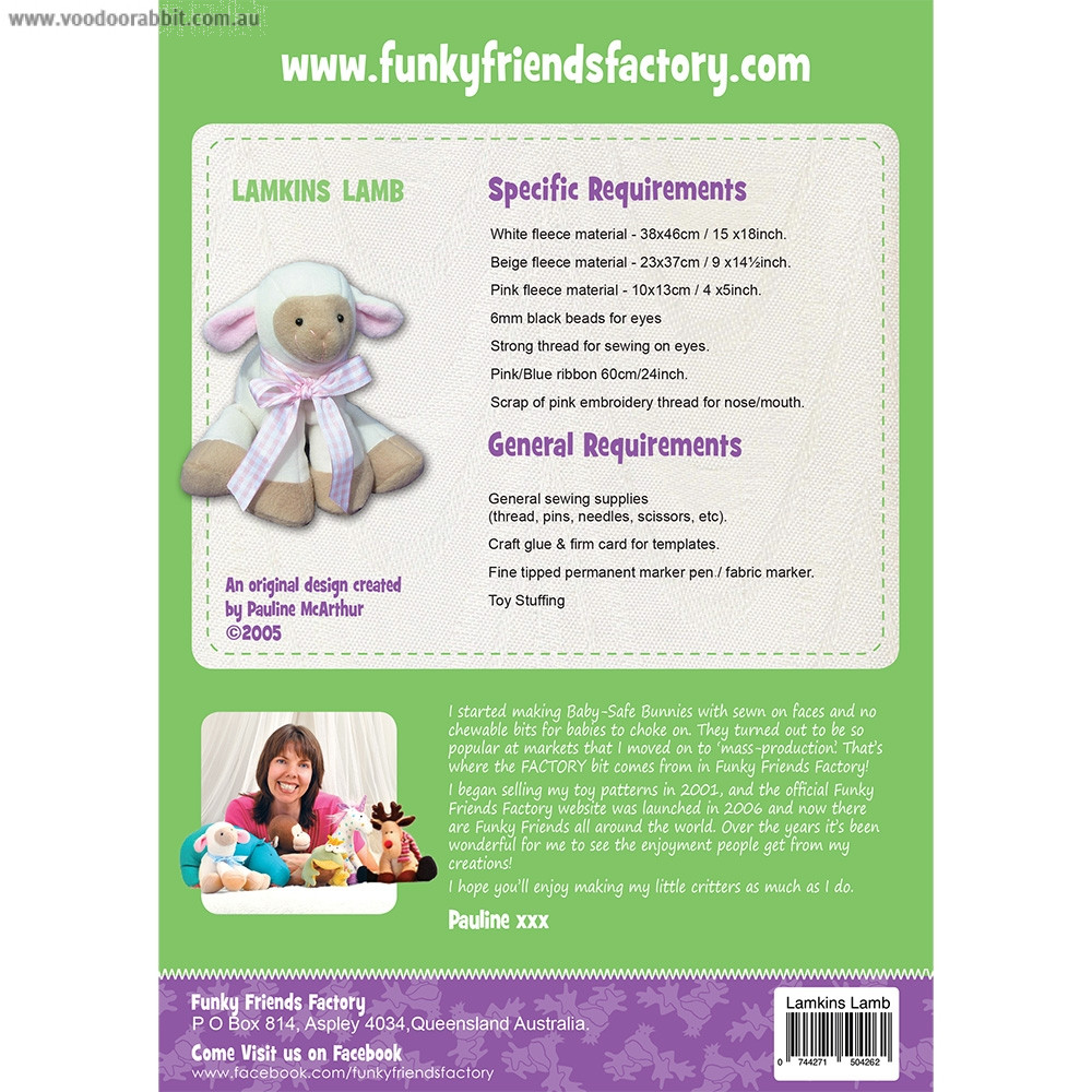 Lamkins Lamb Soft Toy Sewing Pattern by Funky Friends Factory